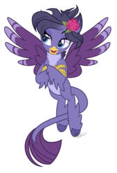 Size: 1024x1514 | Tagged: safe, artist:misskitkat2002, oc, oc only, oc:veronica, classical hippogriff, hippogriff, hippogriffon, female, flower, flower in hair, hippogriff oc, leonine tail, offspring, parent:gallus, parent:silverstream, parents:gallstream, simple background, solo, transparent background