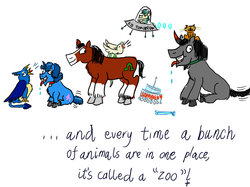 Size: 1280x957 | Tagged: safe, artist:horsesplease, alice the reindeer, capper dapperpaws, captain celaeno, gallus, king sombra, party favor, trouble shoes, cat, clydesdale, deer, hengstwolf, horse, parrot, pony, reindeer, werewolf, my little pony: the movie, :3, amputee, behaving like a rooster, catified, chandelier, collar, crowing, doggie favor, gallus the rooster, meet the soldier, paint tool sai, panting, prosthetic limb, prosthetics, smiling, sombra dog, spaceship, species swap, team fortress 2, ufo, year of the dog