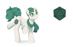 Size: 5100x3300 | Tagged: artist:helixjack, clothes, cutie mark, d20, female, glasses, green eyes, green hair, oc, oc only, oc:spearmint, pony, safe, scarf, simple background, unicorn, white coat