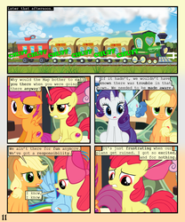 Size: 900x1080 | Tagged: safe, artist:lister-of-smeg, apple bloom, applejack, night glider, party favor, rainbow dash, rarity, scootaloo, sweetie belle, pony, comic:horkosworks, comic, cutie mark crusaders, express train, locomotive, train