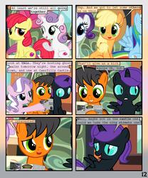 Size: 900x1080 | Tagged: safe, artist:lister-of-smeg, apple bloom, applejack, diamond tiara, rainbow dash, rarity, sweetie belle, oc, oc:lazybug, oc:nyx, alicorn, earth pony, pony, comic:horkosworks, colt, comic, male