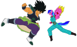 Size: 2800x1700 | Tagged: angry, anthro, anthro oc, artist:linedraweer, breasts, broly, commission, dragon ball super, dragon ball xenoverse, edit, female, fight, hoof feet, nipples, nude edit, nudity, oc, oc:love bug, safe, vector, wings