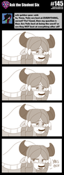 Size: 800x2185 | Tagged: artist:sintakhra, ask, bow, hair bow, monkey swings, monochrome, paradox, safe, solo, tumblr, tumblr:studentsix, yak, yona, yona is not amused