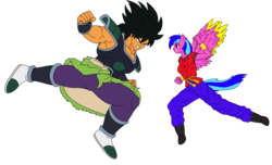 Size: 2800x1700 | Tagged: angry, anthro, anthro oc, artist:linedraweer, breasts, broly, commission, dragon ball super, dragon ball xenoverse, edit, female, fight, hoof feet, oc, oc:love bug, safe, vector, wings