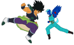 Size: 2800x1700 | Tagged: angry, anthro, anthro oc, artist:linedraweer, broly, commission, dragon ball super, dragon ball xenoverse, edit, fight, hoof feet, oc, oc:j5, safe, vector, wings