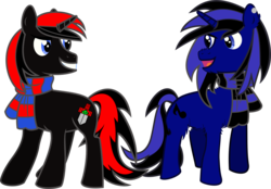 Size: 1047x730   Tagged: safe, artist:sorasleafeon, oc, oc only, oc:airwave, oc:shadow sora, pony, unicorn, best friends, clothes, duo, male, mischievous, red and black oc, scarf, simple background, smiling, stallion, transparent background