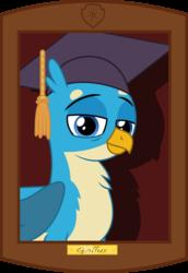 Size: 907x1316   Tagged: dead source, safe, artist:webstersquill, gallus, griffon, frame, graduation, graduation cap, hat, male, solo