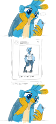 Size: 2000x4420   Tagged: safe, artist:satv12, gallus, griffon, anthro, ..., blushing, cellphone, female, frown, looking at something, male, meta, phone, pictogram, shipping, smartphone, smiling, solo, straight, tweetfur, twitter