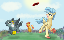 Size: 4000x2500   Tagged: safe, artist:chedx, gabby, princess skystar, sunset shimmer, classical hippogriff, griffon, hippogriff, pony, unicorn, my little pony: the movie, cloud, cloven hooves, female, friendship, frisbee, grass, mare, missing accessory, open mouth, paw pads, sky, trio