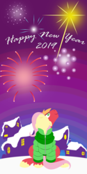 Size: 2880x5760 | Tagged: safe, anonymous artist, big macintosh, fluttershy, earth pony, pegasus, pony, series:fm holidays, clothes, coat, female, fireworks, fluttermac, happy new year, happy new year 2019, holiday, hooves, lineless, looking up, male, mare, new year, night, no pupils, nose in the air, shared clothing, shipping, smiling, snow, stallion, straight, wings