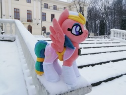 Size: 4160x3120 | Tagged: safe, somnambula, pony, irl, palace, park, photo, plushie, poland, snow, stairs, winter