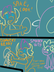 Size: 600x800 | Tagged: safe, artist:eow, derpibooru exclusive, smolder, spike, art pack:clop for a cause 4, bait and switch, colored line art, comic, cooking, egg, food, implied spolder, misunderstanding, prank, shipping, spike is not amused, unamused, wtf
