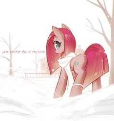 Size: 1323x1404   Tagged: safe, artist:mirroredsea, edit, pinkie pie, earth pony, pony, clothes, female, looking at you, looking back, looking back at you, mare, pinkamena diane pie, rock farm, scarf, snow, snowfall, snowman, solo, text, text edit, winter