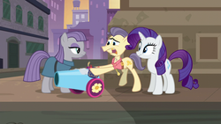 Size: 1280x720 | Tagged: manehattan, maud pie, party cannon, rarity, safe, screencap, street rat, the gift of the maud pie