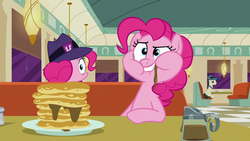 Size: 1280x720 | Tagged: safe, screencap, lucky breaks, pinkie pie, earth pony, pony, the saddle row review, clone, food, hat, lantern, male, pancakes, pinkie clone, plate, stallion, syrup, table