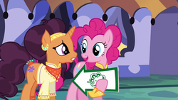 Size: 1280x720 | Tagged: arrow, pinkie pie, safe, saffron masala, screencap, sign, spice up your life
