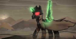 Size: 3850x2000 | Tagged: artist:radinance, artist:thestive19, cloud, cloudy, fallout, fallout equestria, fallout equestria: project horizons, fallout: new vegas, fanfic art, female, glowing horn, gun, handgun, hooves, horn, levitation, magic, male, mare, mojave, mojave desert, ncr ranger, ncr veteran armor, ncr veteran ranger, oc, oc only, pony, revolver, safe, solo, telekinesis, unicorn, wasteland, weapon