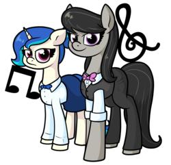 Size: 2155x2080   Tagged: safe, artist:moonatik, dj pon-3, octavia melody, vinyl scratch, earth pony, pony, unicorn, alternate hairstyle, annoyed, bowtie, clothes, cutie mark, female, hair bun, looking at you, lost bet, mare, music notes, pants, shirt, simple background, skirt, transparent background, vinyl class, waistcoat