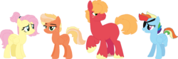 Size: 1439x475 | Tagged: alternate hairstyle, alternate timeline, alternate universe, amputee, artist:klawiee, artist:selenaede, base used, big macintosh, bisexual, crystal war timeline, eyepatch, family, female, flutterdash, fluttermac, fluttershy, freckles, lesbian, male, missing cutie mark, missing limb, oc, oc:cinnamon apple, offspring, parent:big macintosh, parent:fluttershy, parent:rainbow dash, parents:fluttermac, parents:rainbowmac, polyamory, pony, rainbow dash, rainbowmac, safe, shipping, straight