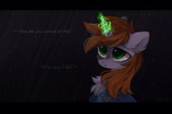 Size: 2449x1632 | Tagged: safe, artist:mirtash, oc, oc only, oc:littlepip, pony, unicorn, fallout equestria, fallout equestria: the line, bust, chest fluff, clothes, dialogue, fanfic, fanfic art, female, glowing horn, horn, magic, mare, portrait, rain, rcf community, scar, solo, spec ops: the line, text, vault suit