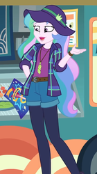 Size: 604x1080 | Tagged: safe, screencap, princess celestia, equestria girls, equestria girls series, the road less scheduled, the road less scheduled: celestia, spoiler:choose your own ending (season 2), spoiler:eqg series (season 2), brochure, clothes, cropped, feather, feather necklace, flannel, food, food truck, hat, jewelry, leggings, legs, necklace, open mouth, principal celestia, shorts, smiling, sushi, wasabi