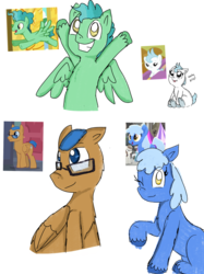 Size: 1280x1707 | Tagged: artist:princessmuffinart, baby, baby pony, background pony, cloudy winds, cotton chip, cute, earth pony, fast break, female, foal, glasses, kersplash, las pegasus resident, looking at you, male, mare, once upon a zeppelin, one eye closed, pegasus, pony, rainbow roadtrip, safe, school raze, simple background, spoiler:rainbow roadtrip, stallion, trusty splendor, unshorn fetlocks, viva las pegasus, white background, wink