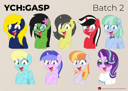 Size: 2000x1432 | Tagged: safe, artist:jhayarr23, copper top, sassaflash, sea swirl, seafoam, starlight glimmer, oc, oc:naveen numbers, oc:prickly pears, earth pony, pegasus, pony, unicorn, alternate hairstyle, bowtie, clothes, female, flower, flower in hair, gasp, glasses, male, mare, part of a set, smiling, stallion, sunglasses, ych result, ych:gasp
