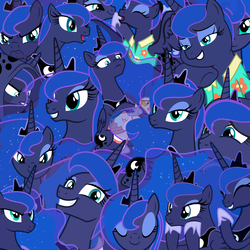 Size: 6000x6000 | Tagged: safe, princess luna, alicorn, goose, all of the luna, calendar of lunas, cape, clothes, female, happy, lidded eyes, luna petting goose, multeity, scared, serious, smiling, smirk, vector, wallpaper