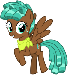 Size: 2900x3200 | Tagged: safe, artist:cheezedoodle96, spur, pegasus, pony, growing up is hard to do, spoiler:s09e22, .svg available, curly hair, female, filly, flying, freckles, looking at you, neckerchief, simple background, smiling, solo, spread wings, svg, teenager, transparent background, vector, wings
