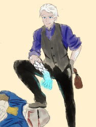 Size: 1500x2000   Tagged: safe, artist:move, oc, oc:noc visum, human, bag, blood, clothes, fangs, humanized, knight, magic, male, scales, transformed, vest, white hair