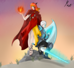 Size: 2500x2300 | Tagged: safe, artist:move, oc, oc:exuro firesong, oc:noc visum, human, armor, clothes, fangs, female, fire, fireball, guard, horns, humanized, knight, magic, male, robe, scales, sword, transformed, vest, weapon, white hair, wings