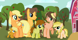 Size: 3617x1881 | Tagged: apple, applejack, apple tree, artist:lunaapple, barn, base used, carajack, caramel, earth pony, family, female, male, oc, oc:apple melody, oc:cinnamon jack, oc:lasso roll, oc:melora, offspring, parent:applejack, parent:caramel, parents:carajack, pony, safe, shipping, straight, sweet apple acres, tree