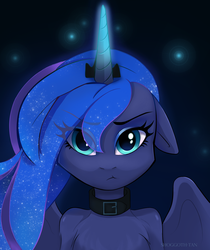 Size: 2100x2500 | Tagged: safe, artist:shoggoth-tan, princess luna, alicorn, anthro, baka, bust, chest fluff, collar, commission, cute, female, floppy ears, looking at you, lunabetes, mare, portrait, solo