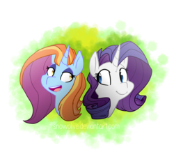Size: 936x854 | Tagged: safe, artist:snowolive, rarity, sassy saddles, pony, unicorn, abstract background, bust, female, lesbian, mare, open mouth, rarisaddles, smiling