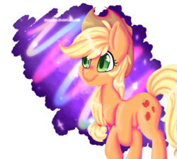 Size: 945x846 | Tagged: safe, artist:snowolive, applejack, earth pony, pony, abstract background, cutie mark, female, mare, raised hoof, smiling, solo, stars