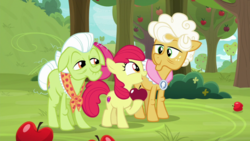 Size: 1920x1080 | Tagged: safe, screencap, apple bloom, goldie delicious, granny smith, going to seed, spoiler:s09e10, apple, apple tree, food, tree