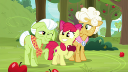 Size: 1280x720 | Tagged: safe, screencap, apple bloom, goldie delicious, granny smith, going to seed, apple, apple tree, food, one eye closed, tree, wink
