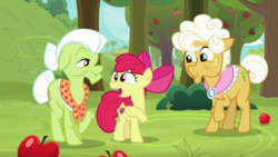 Size: 1920x1080 | Tagged: safe, screencap, apple bloom, goldie delicious, granny smith, going to seed, apple, apple tree, food, tree