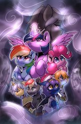 Size: 1334x2048 | Tagged: safe, artist:colorfulcolor233, pinkie pie, rainbow dash, twilight sparkle, oc, alicorn, bat pony, earth pony, pony, unicorn, bat pony oc, crying, fog, glowing horn, group, horn, looking back, nurse, twilight sparkle (alicorn), weapon, worried
