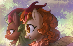 Size: 2480x1575 | Tagged: artist:mirroredsea, autumn blaze, awwtumn blaze, cinderbetes, cinder glow, cute, digital art, duo, female, grin, kirin, lidded eyes, profile, quadrupedal, safe, smiling, summer flare