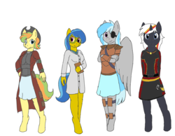 Size: 2700x2100 | Tagged: anthro, anthro oc, armor, artist:bigrinth, artist:digigex90, clothes, coat, cowboy hat, earth pony, earth pony oc, fallout equestria, female, hat, mare, oc, oc:nova gear, oc:velvet remedy, pegasus, pegasus oc, safe, skirt, stetson, unguligrade anthro, unicorn, unicorn oc