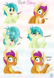Size: 2270x3272 | Tagged: adorkable, artist:rainbow eevee, blushing, cute, dialogue, dork, dragon, dragoness, female, frog (hoof), majestic as fuck, male, nodding, pointing, pony, safe, sandabetes, sandbar, shipping, shipping fuel, smolbar, smolder, smolderbetes, story, straight, sweat, text, underhoof, waving