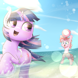 Size: 1900x1900 | Tagged: safe, artist:phoenixrk49, pinkie pie, twilight sparkle, semi-anthro, beach, beach ball, belly button, clothes, open mouth, swimsuit