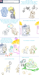 Size: 1562x3006 | Tagged: artist:jitterbugjive, changeling, comic, crayon, dinky hooves, doctor who, doctor whooves, food, lovestruck derpy, magic, muffin, parasprite, pony, safe, tardis, time turner