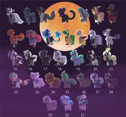 Size: 928x861 | Tagged: safe, artist:midnightamber, raven, oc, alicorn, bat pony, cat pony, demon, demon pony, draconequus, earth pony, ghost, ghost pony, hengstwolf, insect, original species, pegasus, pony, rabbit, rattlesnake, snake, snake pony, sphinx, spider, undead, unicorn, vampire, werewolf, zombie, zombie pony, adoptable, adopts, adopts for sale, animal, black cat, bone, bowtie, bracelet, bugs doing bug things, candlestick, candy, cape, clothes, clown, clown nose, cursed, dapper, devil, devil pony, doll, dress, ear piercing, earring, food, frankenstein, full moon, glasses, grim reaper, hat, jewelry, long mane, long mane male, long tail, mask, messy hair, messy mane, moon, multicolored hair, mummy, murderer, neckless, open adopt, overalls, phobia, piercing, potions, pumpkin, rabbit pony, rattle, ripped sleeves, ripped stockings, scarecrow, scared, scarf, skeleton, skull, slime, slit eyes, snake eyes, snake tounge, spider web, stalker, stockings, suit, sweater, thigh highs, toy, trickster, vest, wax, witch, witch hat, witch pony