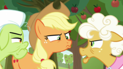 Size: 1920x1080 | Tagged: safe, screencap, applejack, goldie delicious, granny smith, pony, going to seed, apple, apple tree, pouting, tree