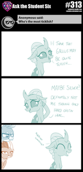 Size: 800x1659 | Tagged: artist:sintakhra, blatant lies, changeling, cute, dragon, dragoness, female, gallus, griffon, imminent tickles, male, misspelling, nervous, ocellus, safe, smolder, sweat, tickling, tumblr:studentsix