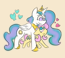 Size: 4500x4000   Tagged: safe, artist:antimationyt, fluttershy, princess celestia, alicorn, butterfly, pegasus, pony, blushing, duo, female, floppy ears, flutterlestia, folded wings, heart, height difference, lesbian, looking at each other, looking down, looking up, mare, no pupils, shipping, simple background, smiling, standing, standing over, wings