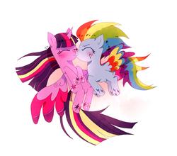 Size: 1702x1500   Tagged: safe, artist:stupid works-stuwor, rainbow dash, twilight sparkle, alicorn, pegasus, pony, twilight's kingdom, female, lesbian, rainbow power, shipping, twidash, twilight sparkle (alicorn)