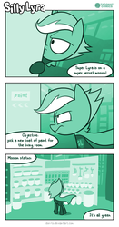 Size: 726x1387 | Tagged: artist:dori-to, comic, comic:silly lyra, female, green, greenscale, lyra heartstrings, mare, meta, monochrome, pony, safe, superhero